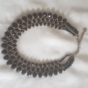 Black beaded gold necklace
